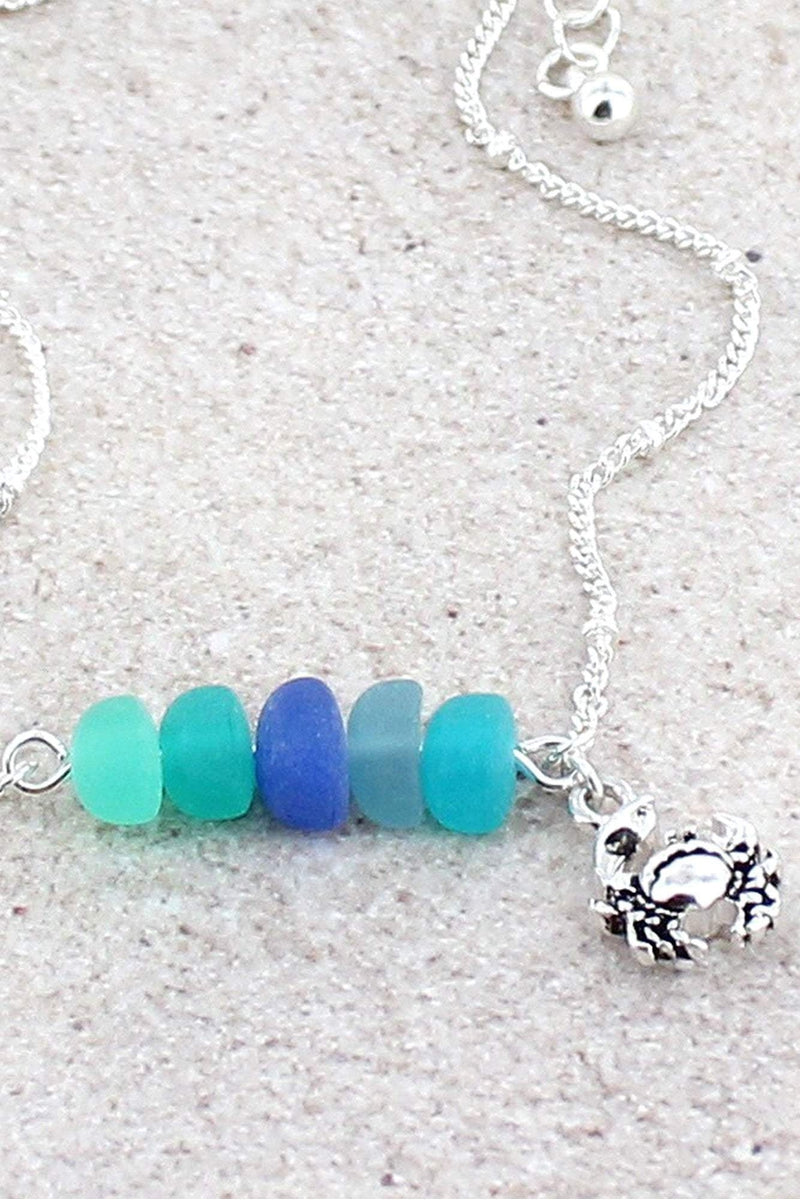 Sea Glass and Silvertone Crab Charm Anklet