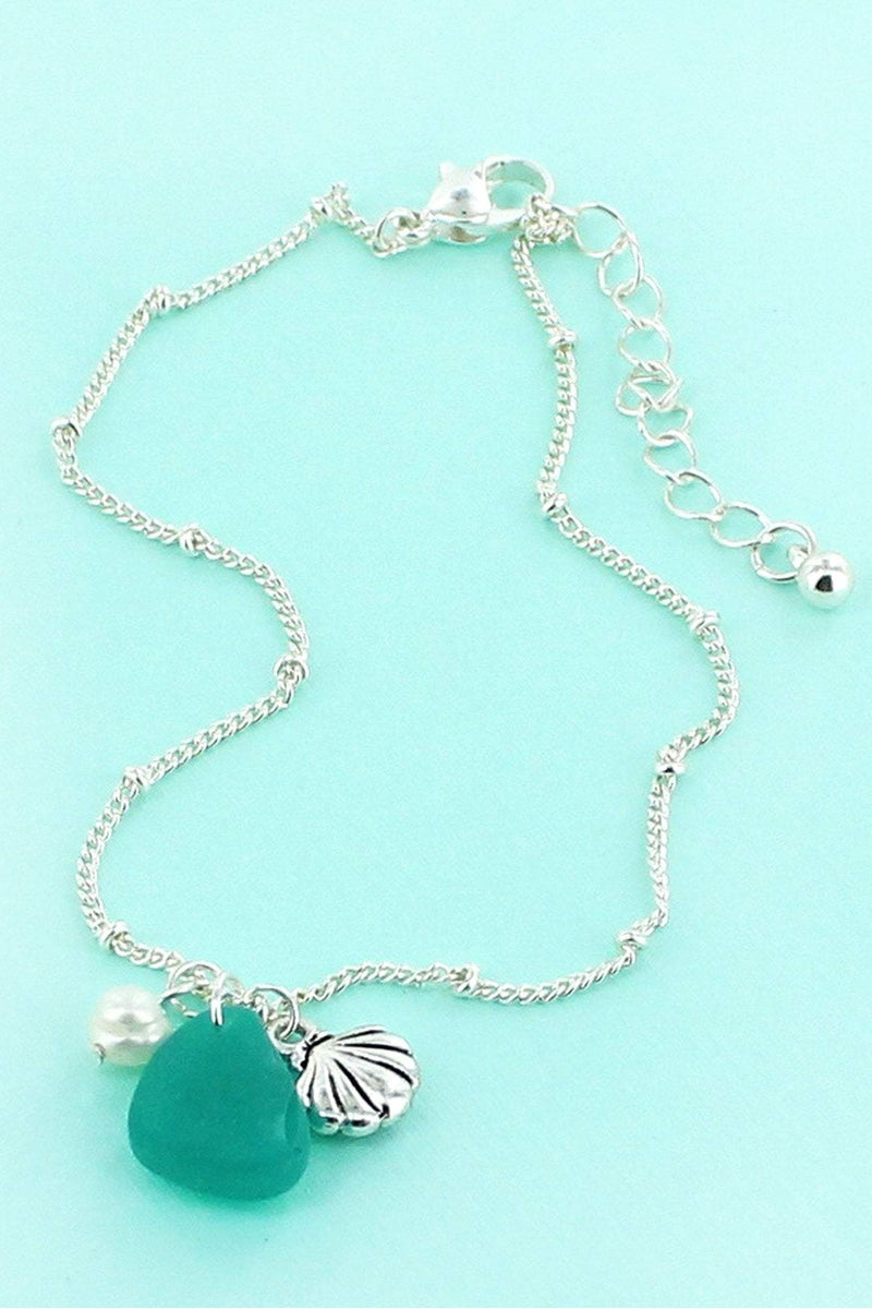 Silvertone Seashell and Sea Glass Charm Anklet