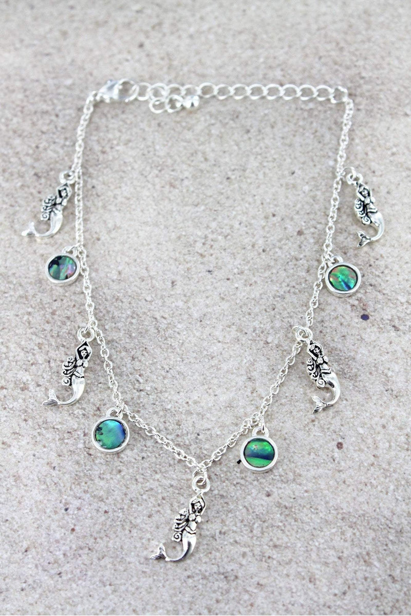 Silvertone Mermaid and Abalone Disk Charm Anklet