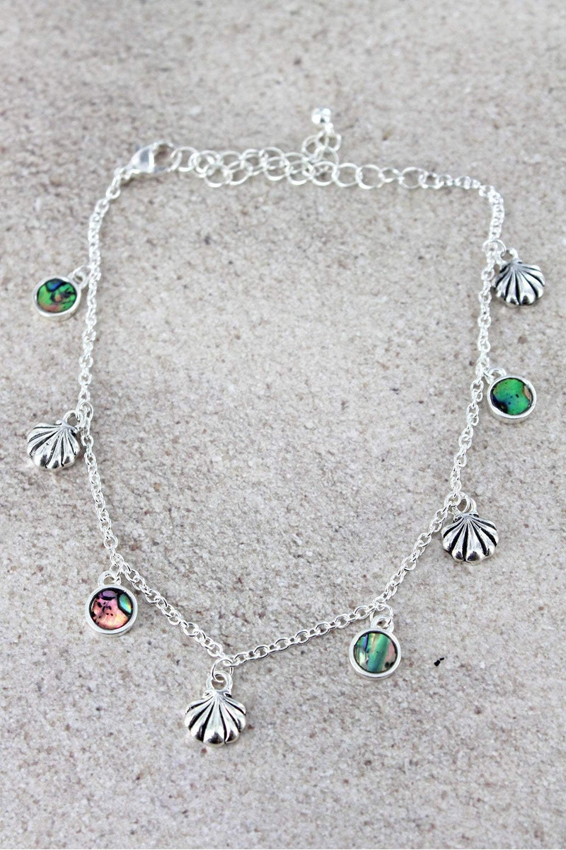 Silvertone Seashell and Abalone Disk Charm Anklet