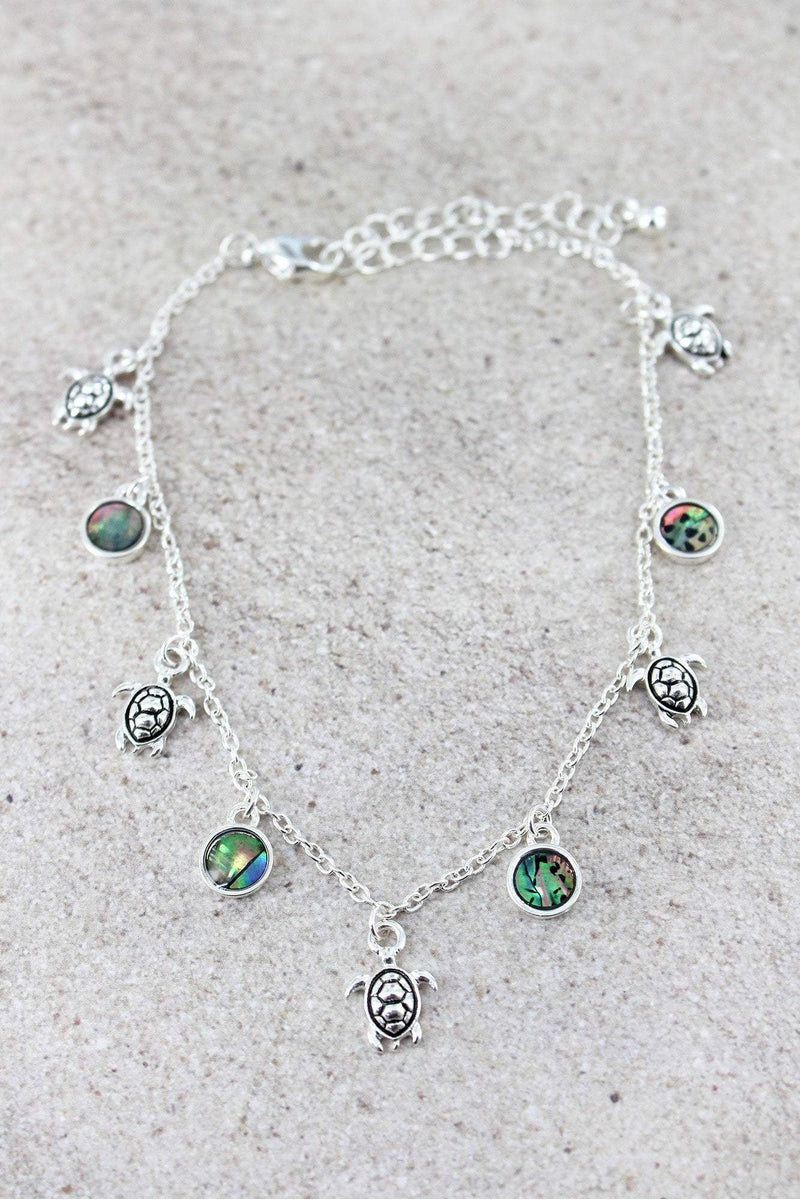 Silvertone Turtle and Abalone Disk Charm Anklet