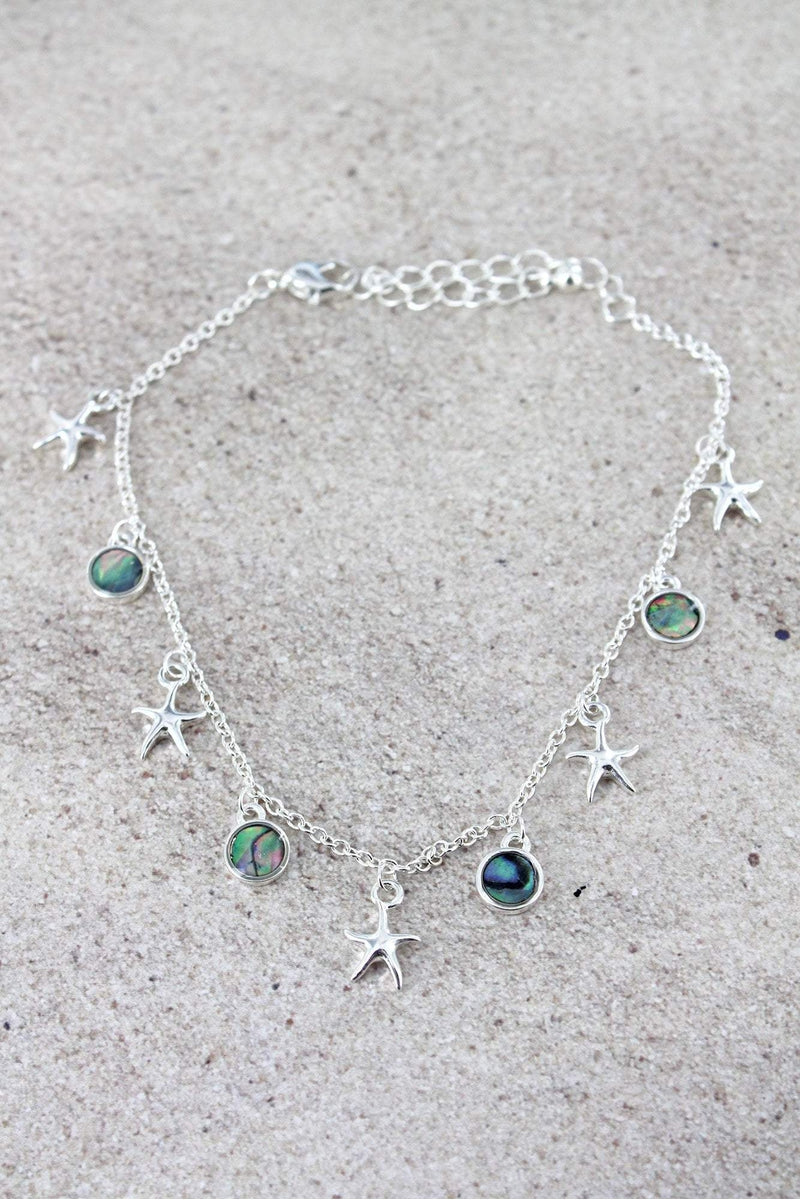 Silvertone Starfish and Abalone Disk Charm Anklet