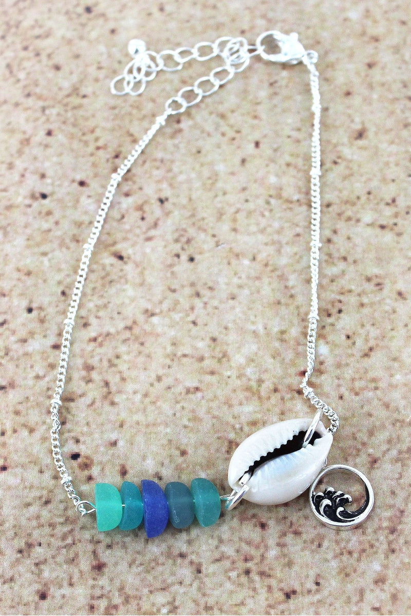 Sea Glass and Shell with Silvertone Wave Charm Anklet