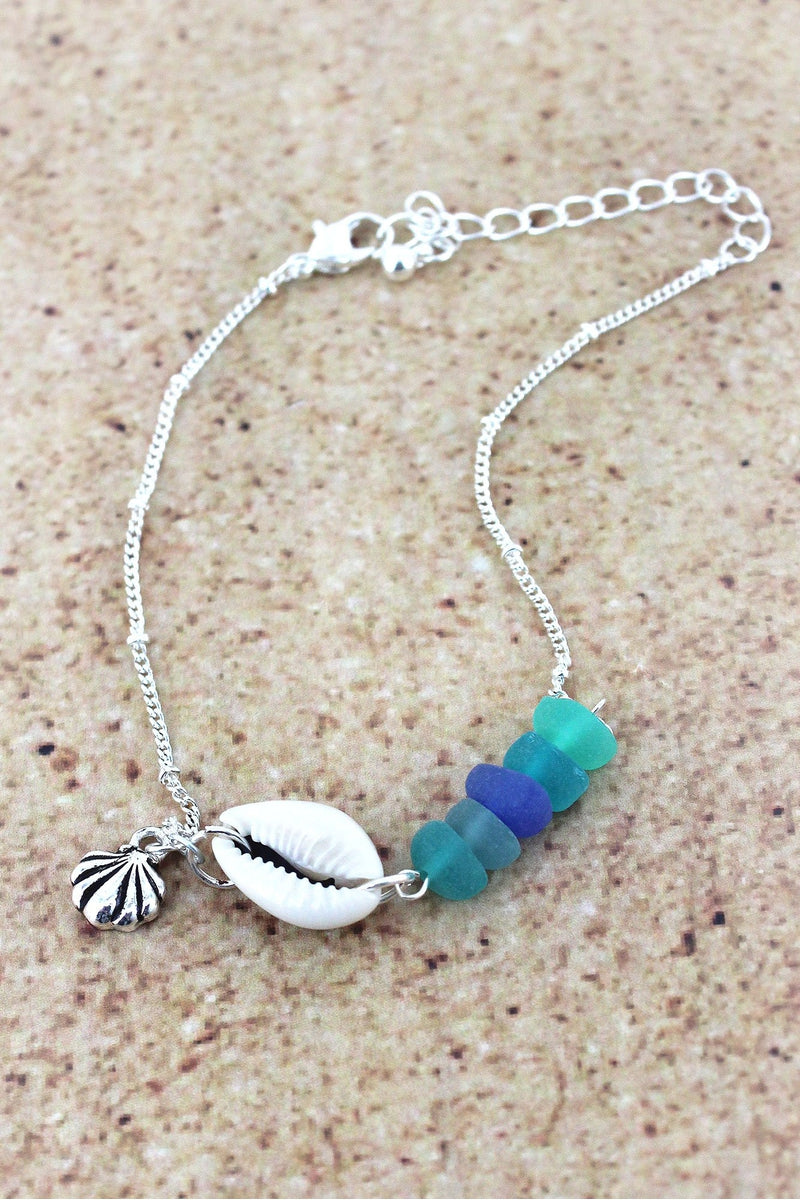 Sea Glass and Shell with Silvertone Seashell Charm Anklet