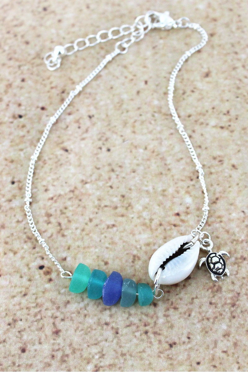 Sea Glass and Shell with Silvertone Turtle Charm Anklet