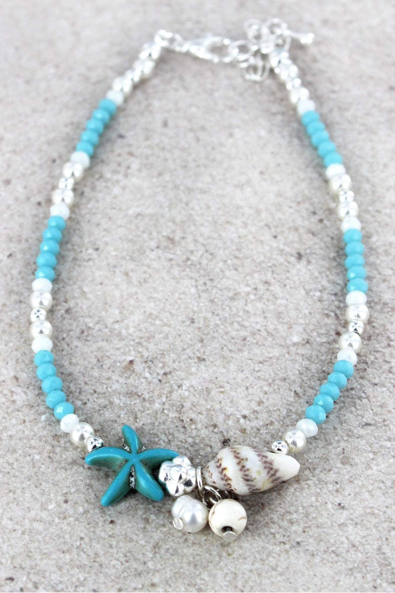 Starfish Charm Blue Beaded Anklet