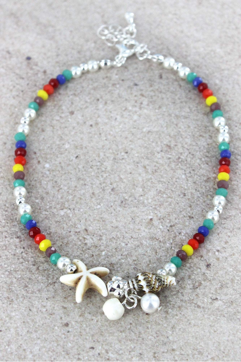 Starfish Charm Multi-Color Beaded Anklet
