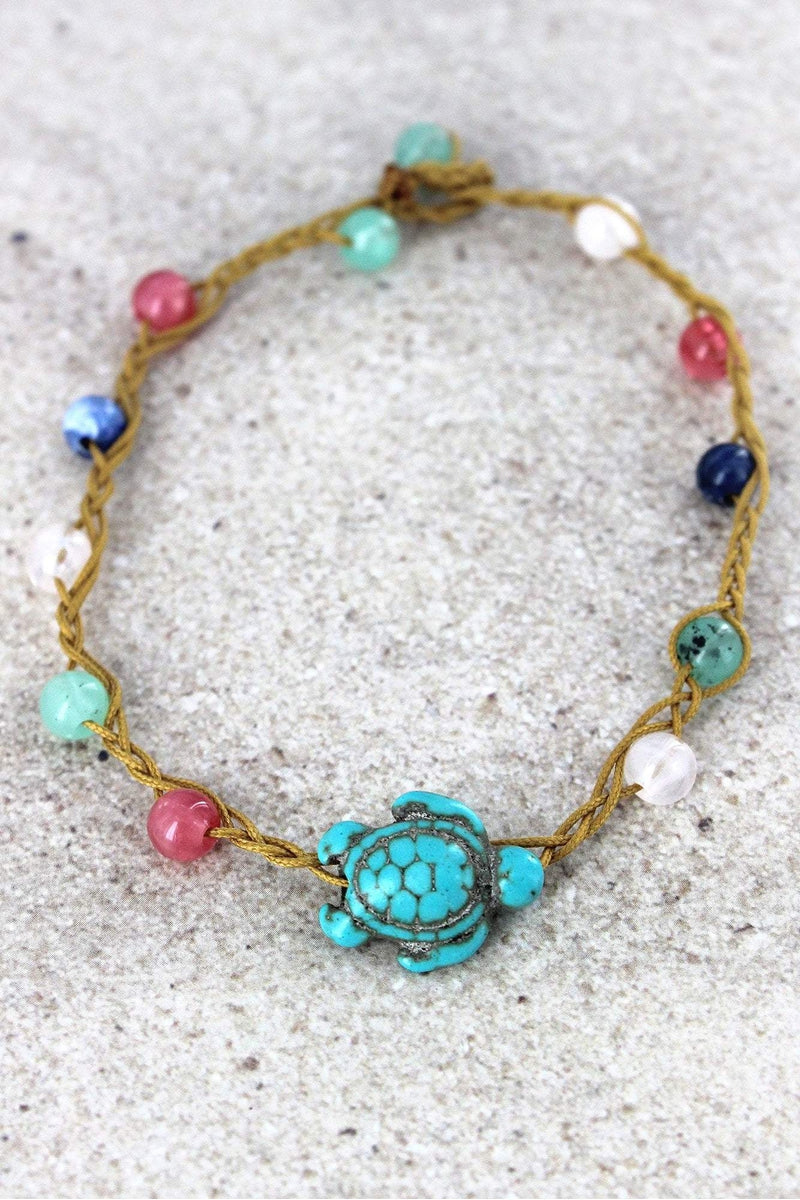 Turtle Charm Multi-Color Beaded Cord Anklet