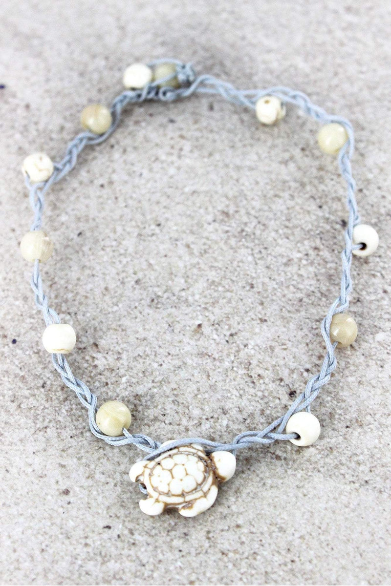 Turtle Charm White Beaded Cord Anklet