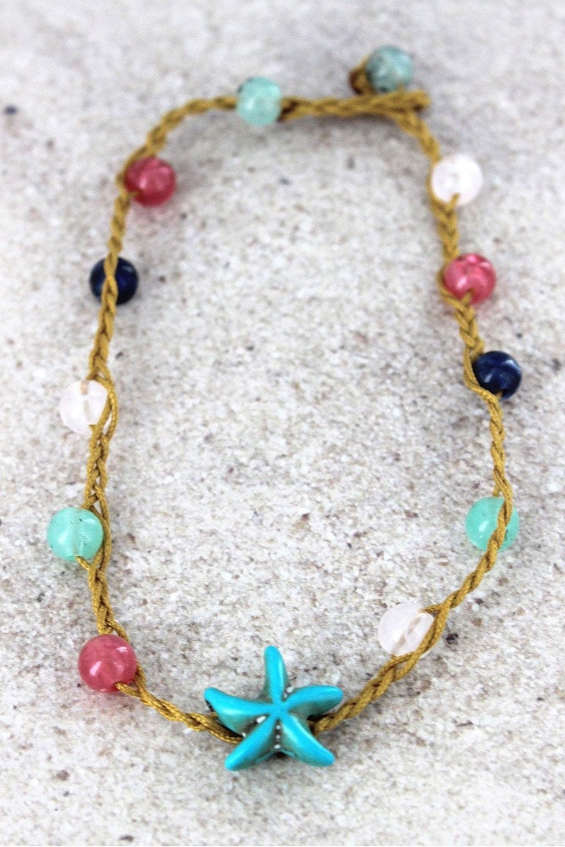 Starfish Charm Multi-Color Beaded Cord Anklet