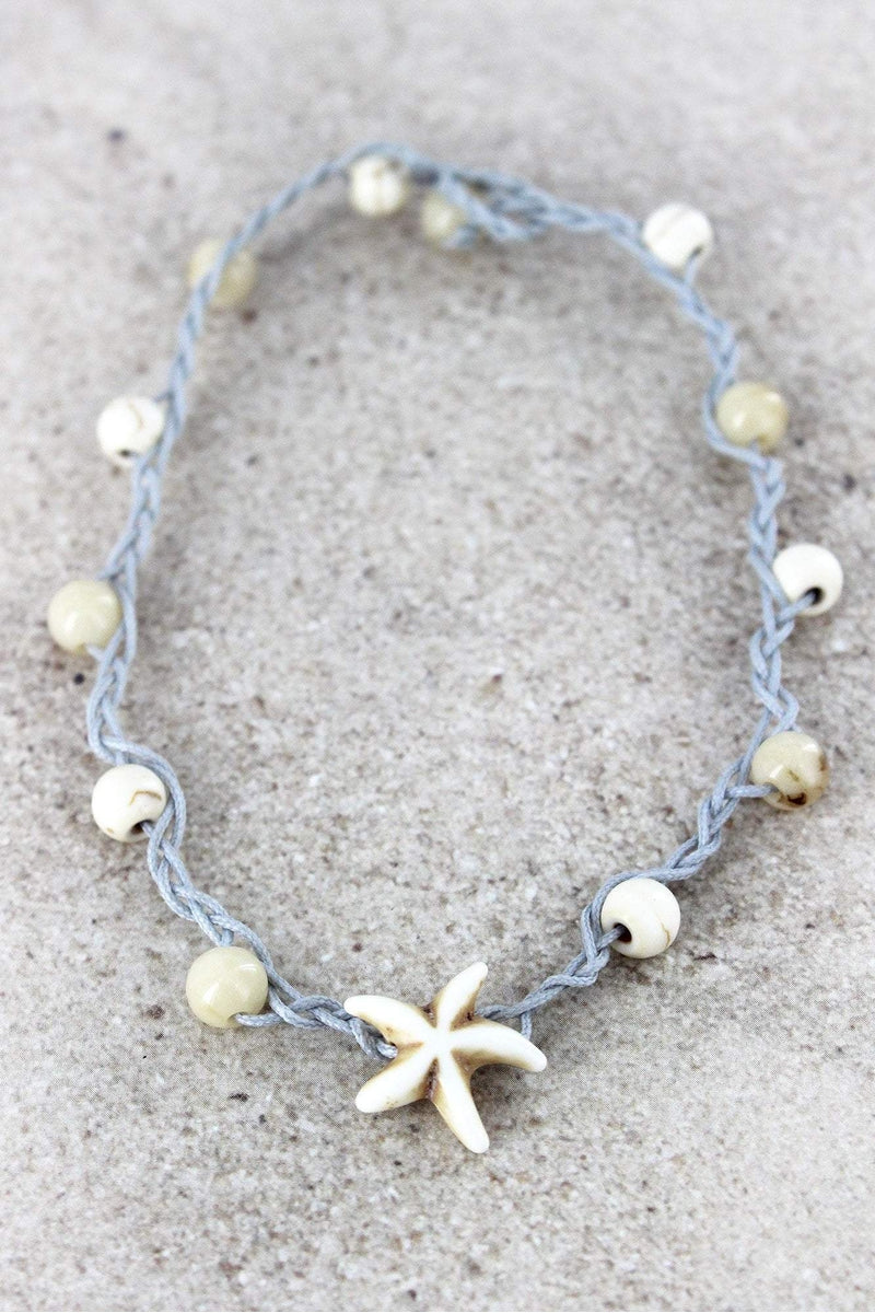 Starfish Charm White Beaded Cord Anklet