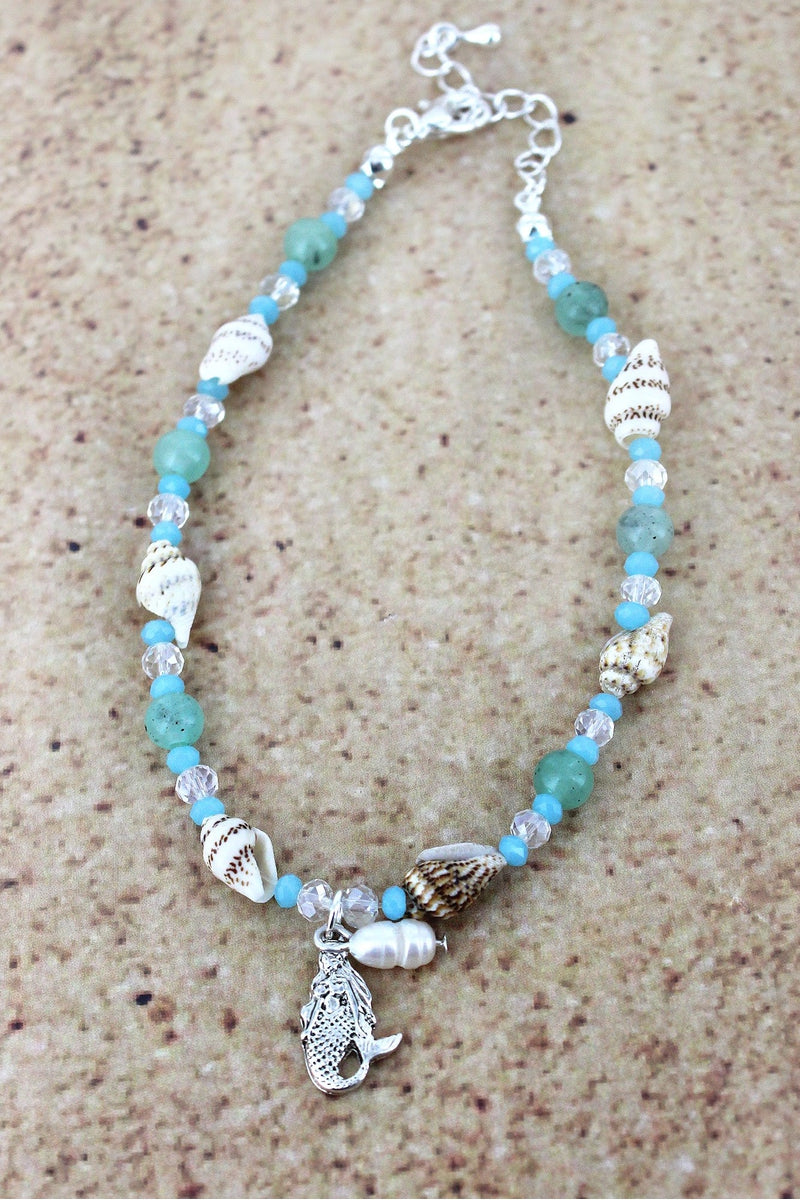 Mermaid Charm Blue and Shell Beaded Anklet