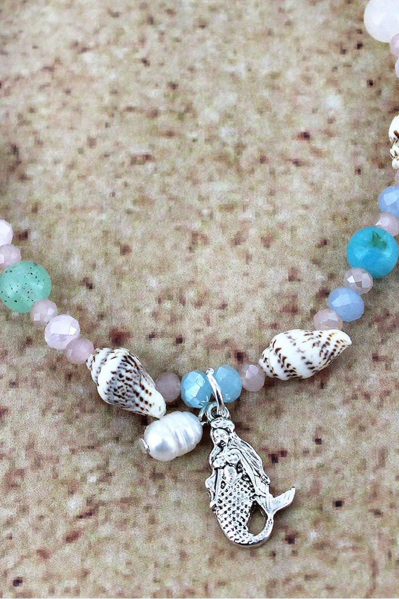 Mermaid Charm Multi-Color and Shell Beaded Anklet