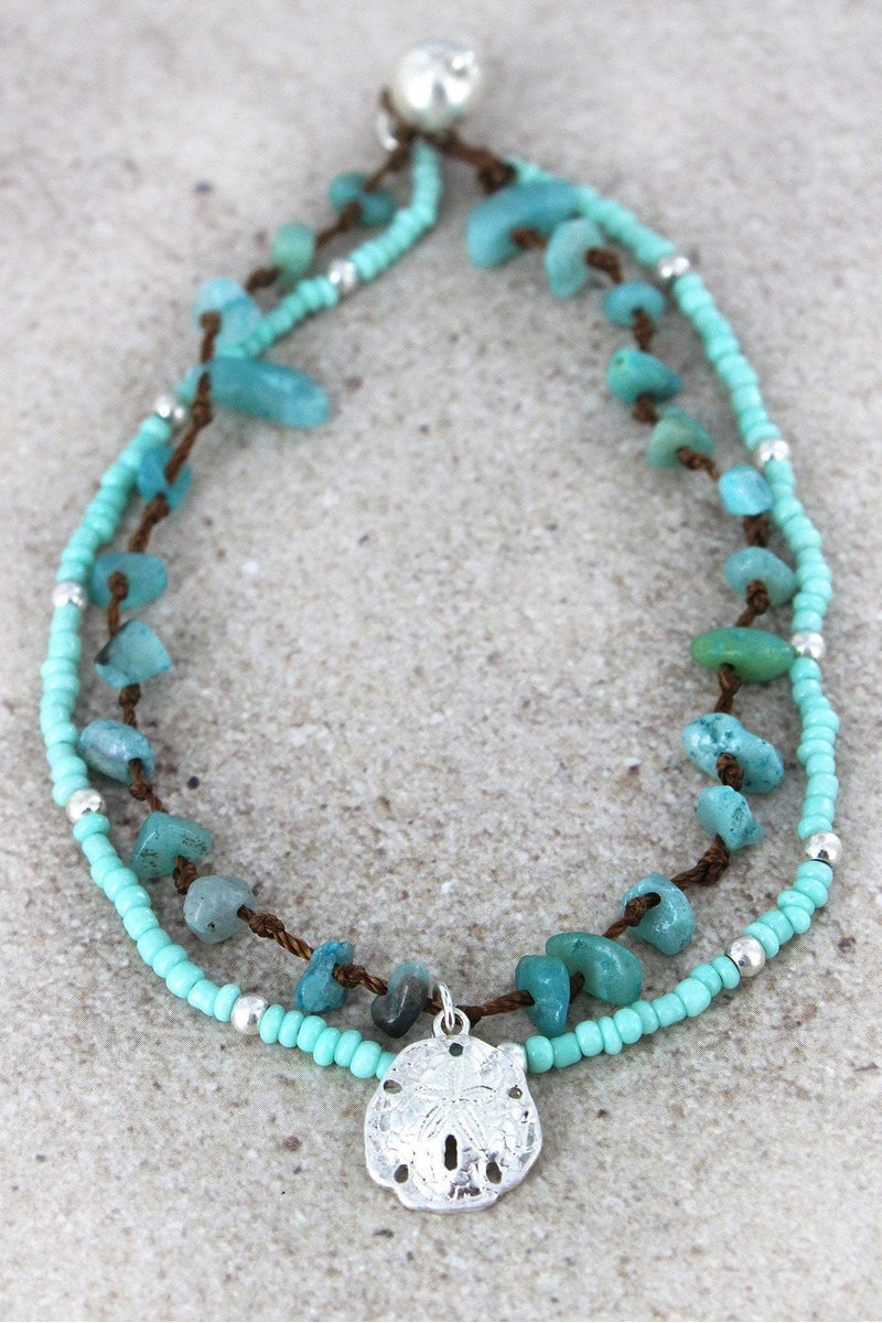 Sand Dollar Charm Mint Seed Bead and Chip Stone Layered Anklet