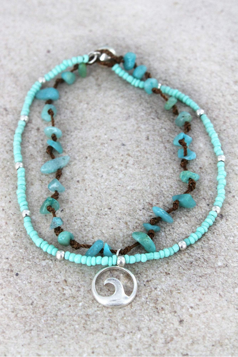 Wave Charm Mint Seed Bead and Chip Stone Layered Anklet