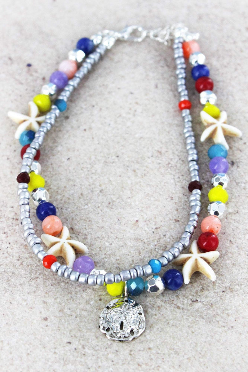Sand Dollar Charm Multi-Color and Starfish Beaded Layered Anklet