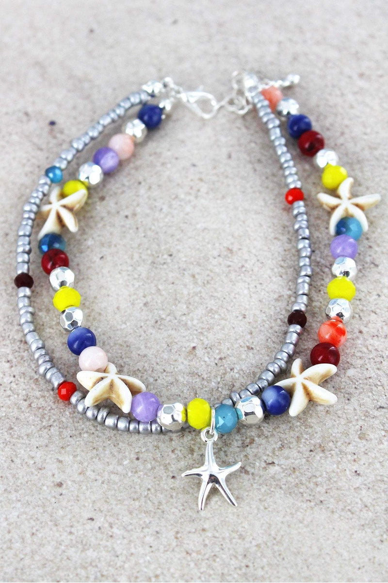 Starfish Charm Multi-Color and Starfish Beaded Layered Anklet