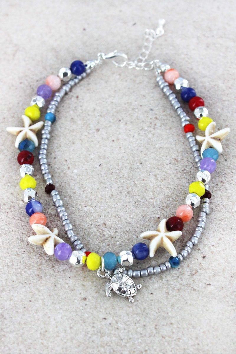 Turtle Charm Multi-Color and Starfish Beaded Layered Anklet