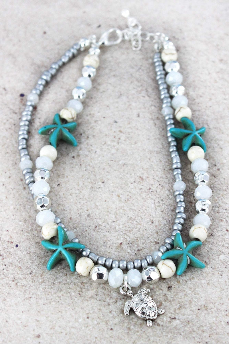 White and Starfish Beaded Layered Anklet with Turtle Charm