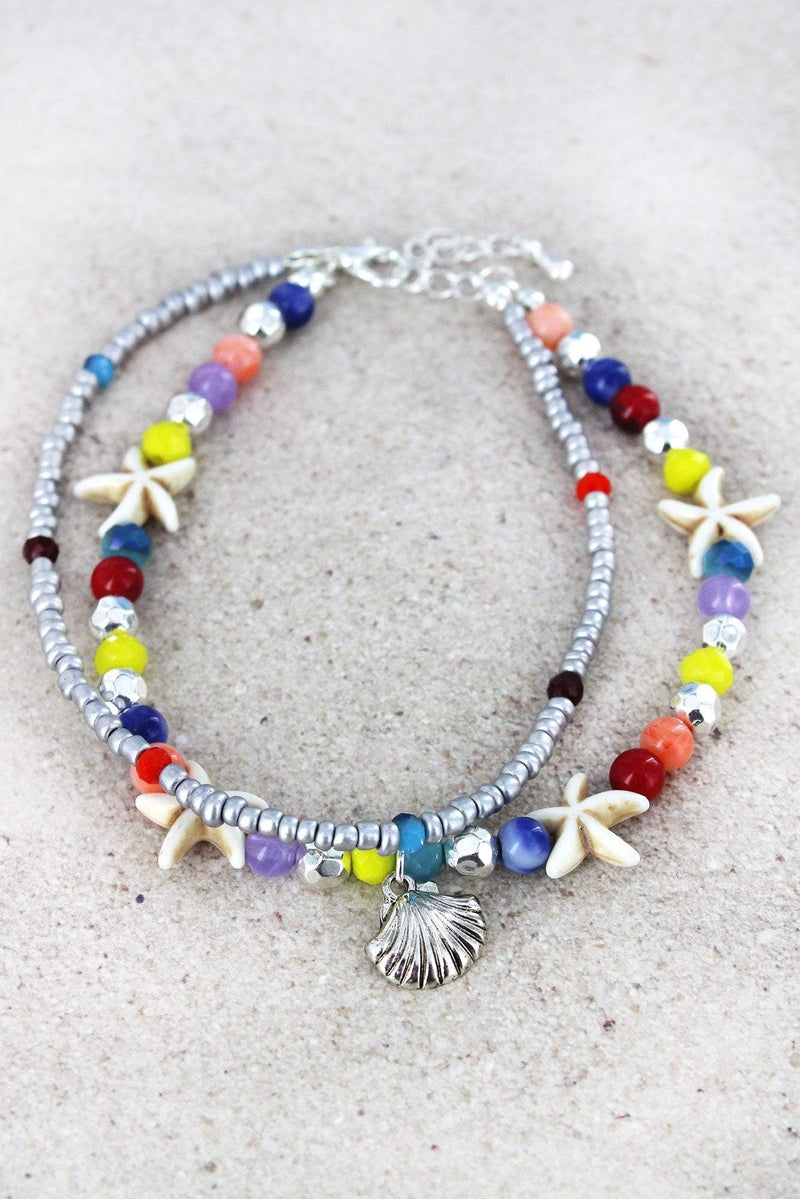 Seashell Charm Multi-Color and Starfish Beaded Layered Anklet