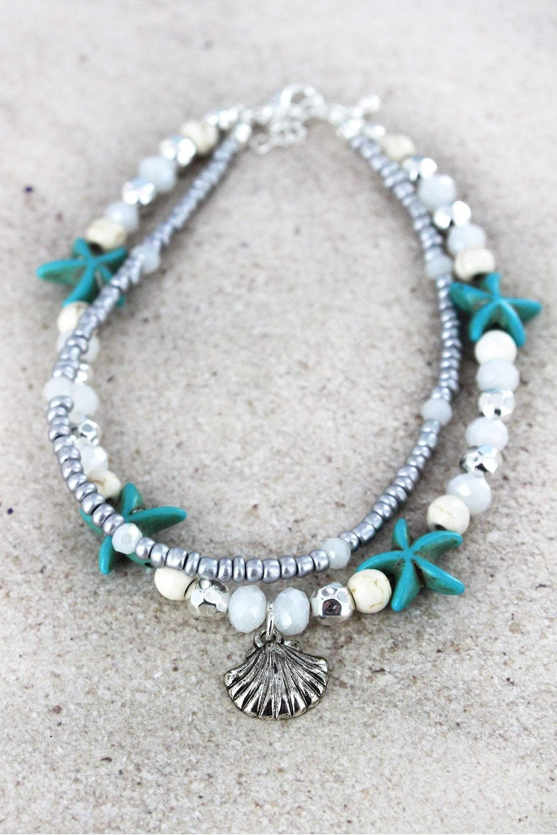 Seashell Charm White and Starfish Beaded Layered Anklet