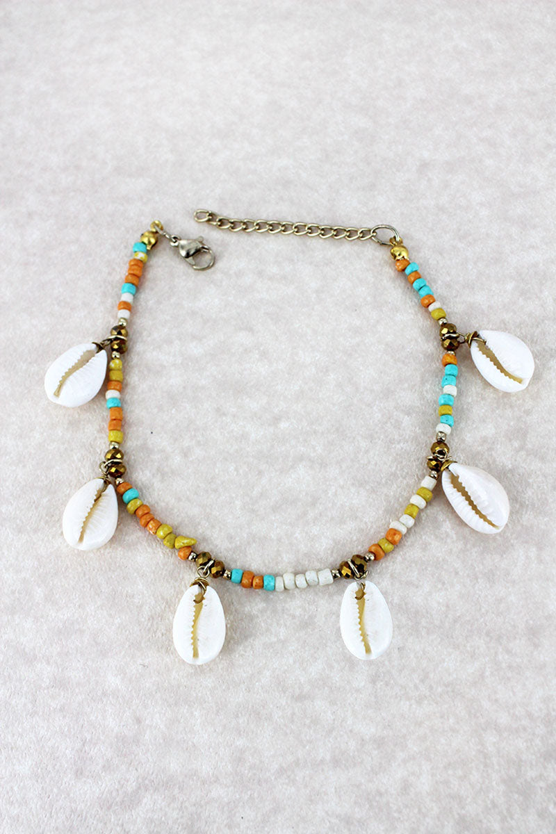Multi-Color Seed Bead Cowrie Shell Charm Anklet