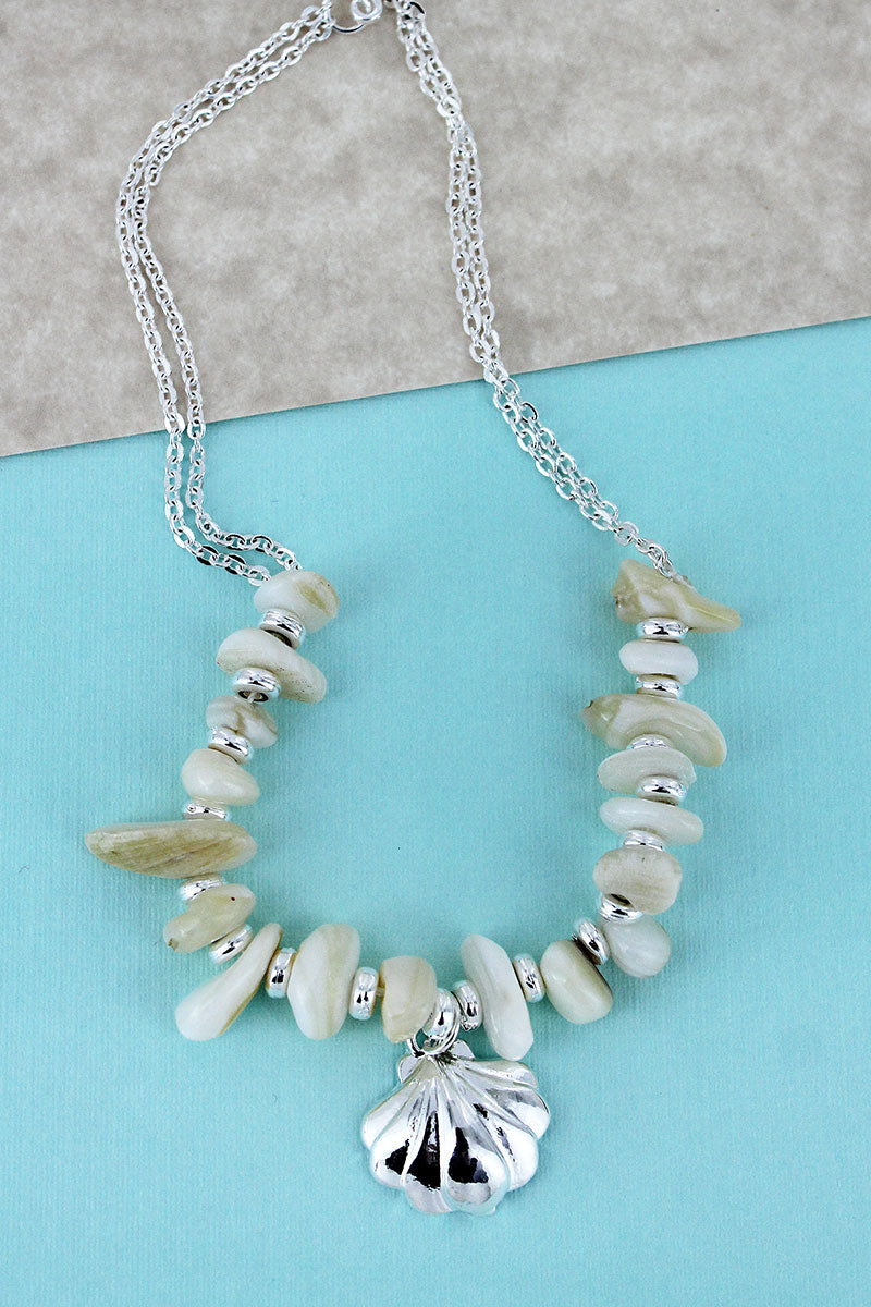 Seashell Charm Ivory Chip Stone Anklet
