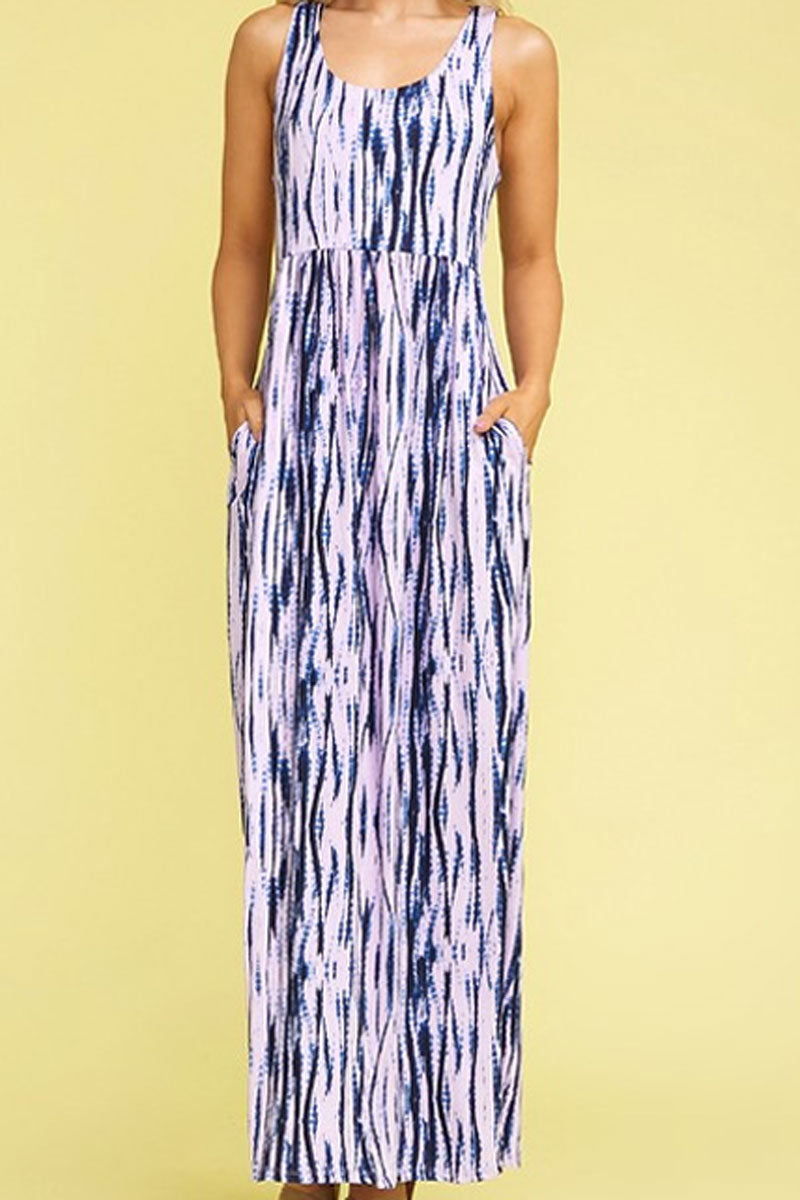 Navy and Lavender Tie Dye Empire Waist Pocket Maxi Dress