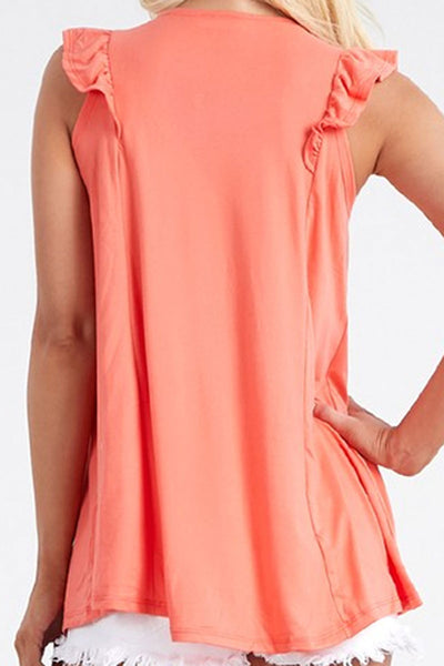 SALE! Coral Ruffled Princess Seam Sleeveless Top