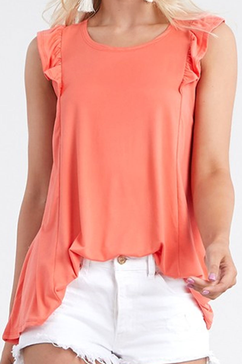 Coral Ruffled Princess Seam Sleeveless Top