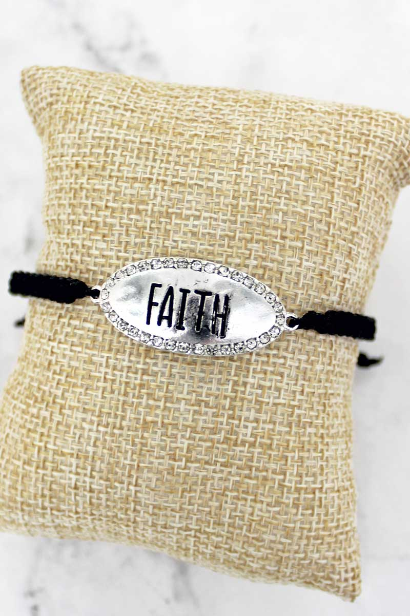 SALE! Crystal Silvertone 'Faith' Adjustable Black Cord Bracelet