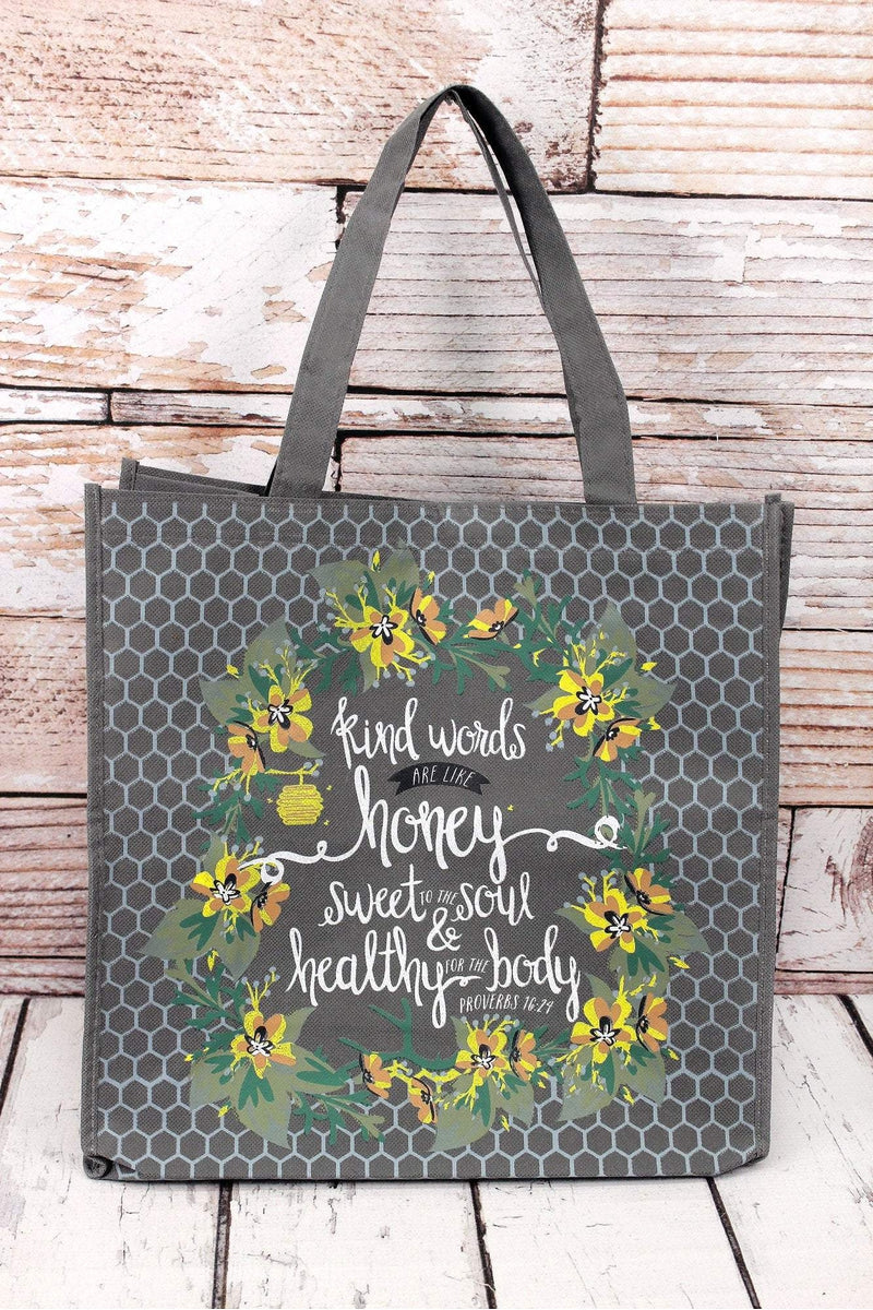 Proverbs 16:24 'Kind Words' Tote Bag