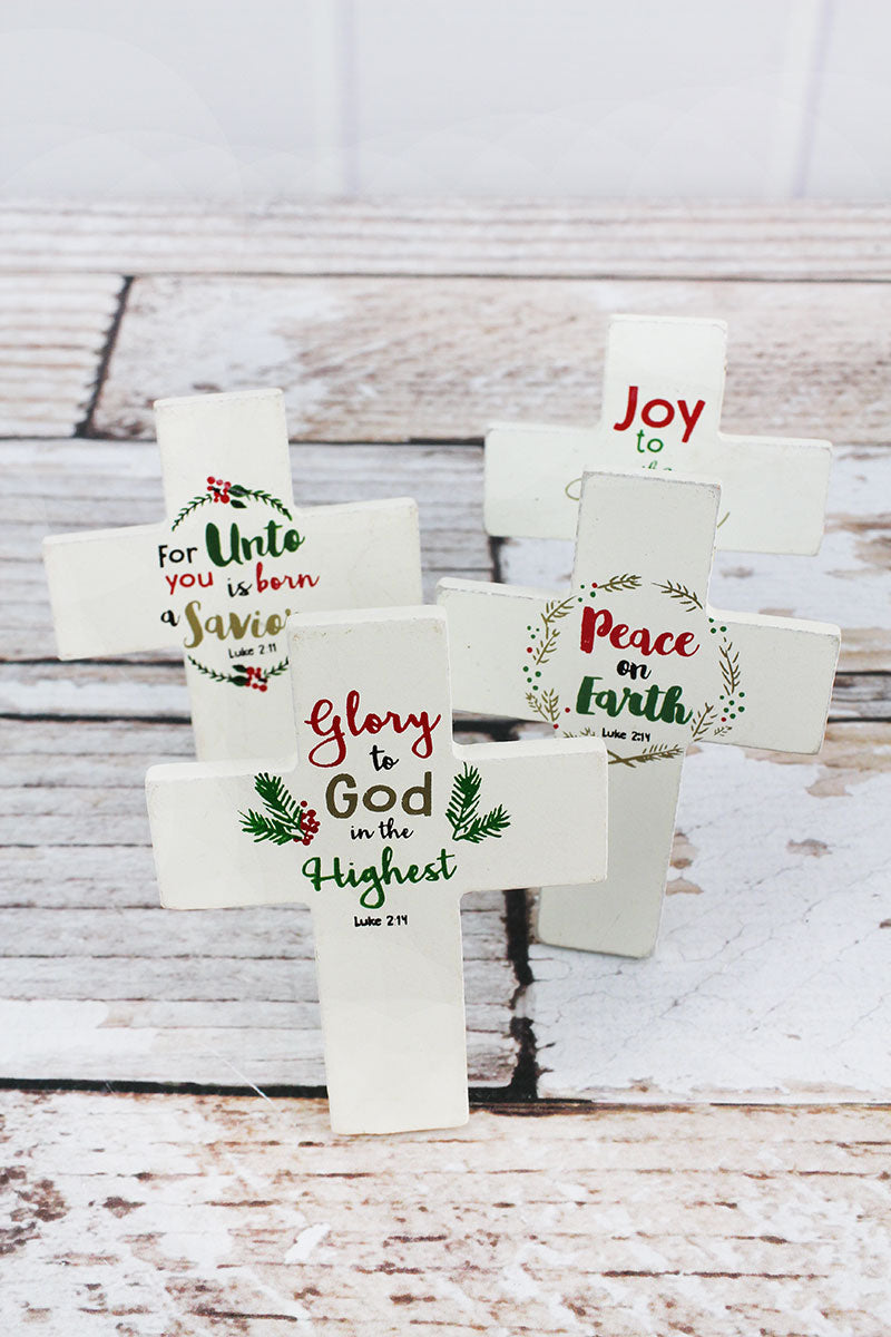 One 4 x 3 Mini Christmas Cross - SHIPS ASSORTED