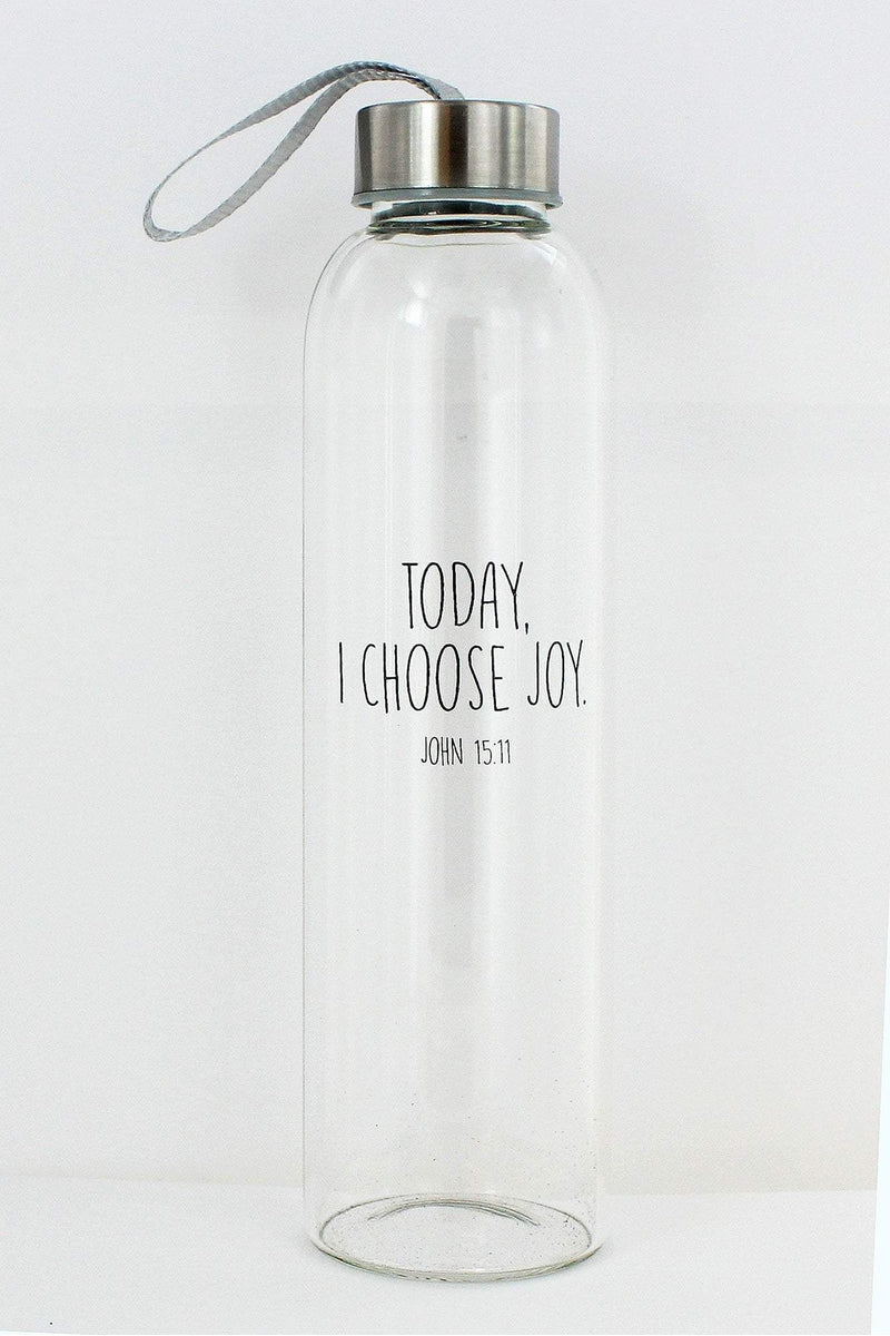 John 15:11 'Today, I Choose Joy' Glass Water Bottle