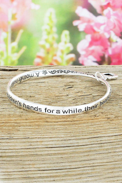 Mother Silvertone Twist Bangle with Heart Charm