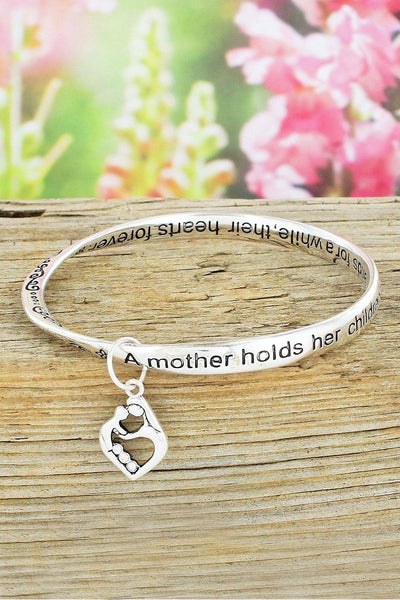 Mother Silvertone Twist Bangle with Heart Charm #B9212L-ATS