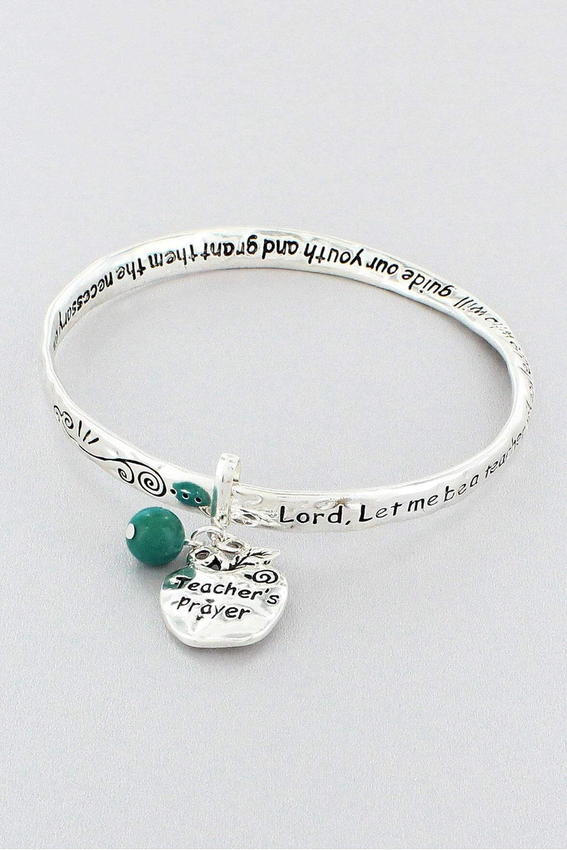 Teacher's Prayer Silvertone Twist Bangle with Apple Charm #B9966L-ATS