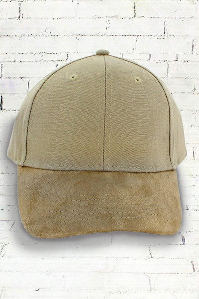 Khaki and Tan Suede Bill Cap #BA555 (PLEASE ALLOW 3-5 BUSINESS DAYS. EXPEDITED SHIPPING N/A)