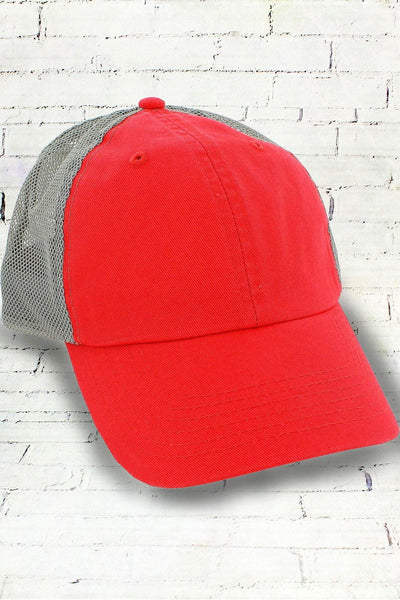 Cosmo and Gray Washed Trucker Cap #BA601 (PLEASE ALLOW 3-5 BUSINESS DAYS. EXPEDITED SHIPPING N/A)