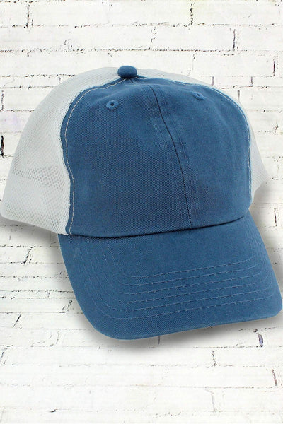 Indigo and White Washed Trucker Cap #BA601 (PLEASE ALLOW 3-5 BUSINESS DAYS. EXPEDITED SHIPPING N/A)