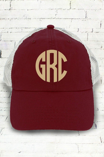 Maroon and White Washed Trucker Cap #BA601 (PLEASE ALLOW 3-5 BUSINESS DAYS. EXPEDITED SHIPPING N/A)