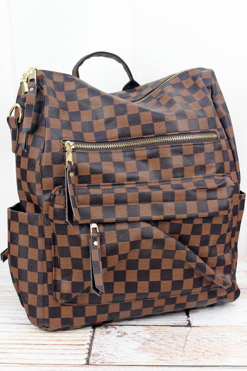 Brown Checkerboard Faux Leather Backpack Tote