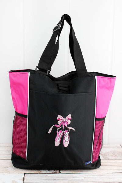 NGIL Black with Hot Pink Trim Ballerina Slippers Tote