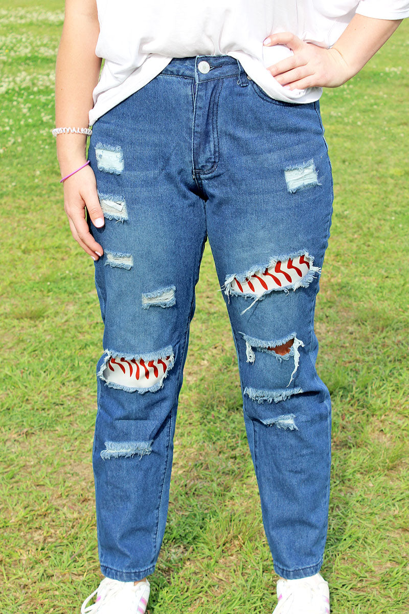 Baseball Ripped Jeans