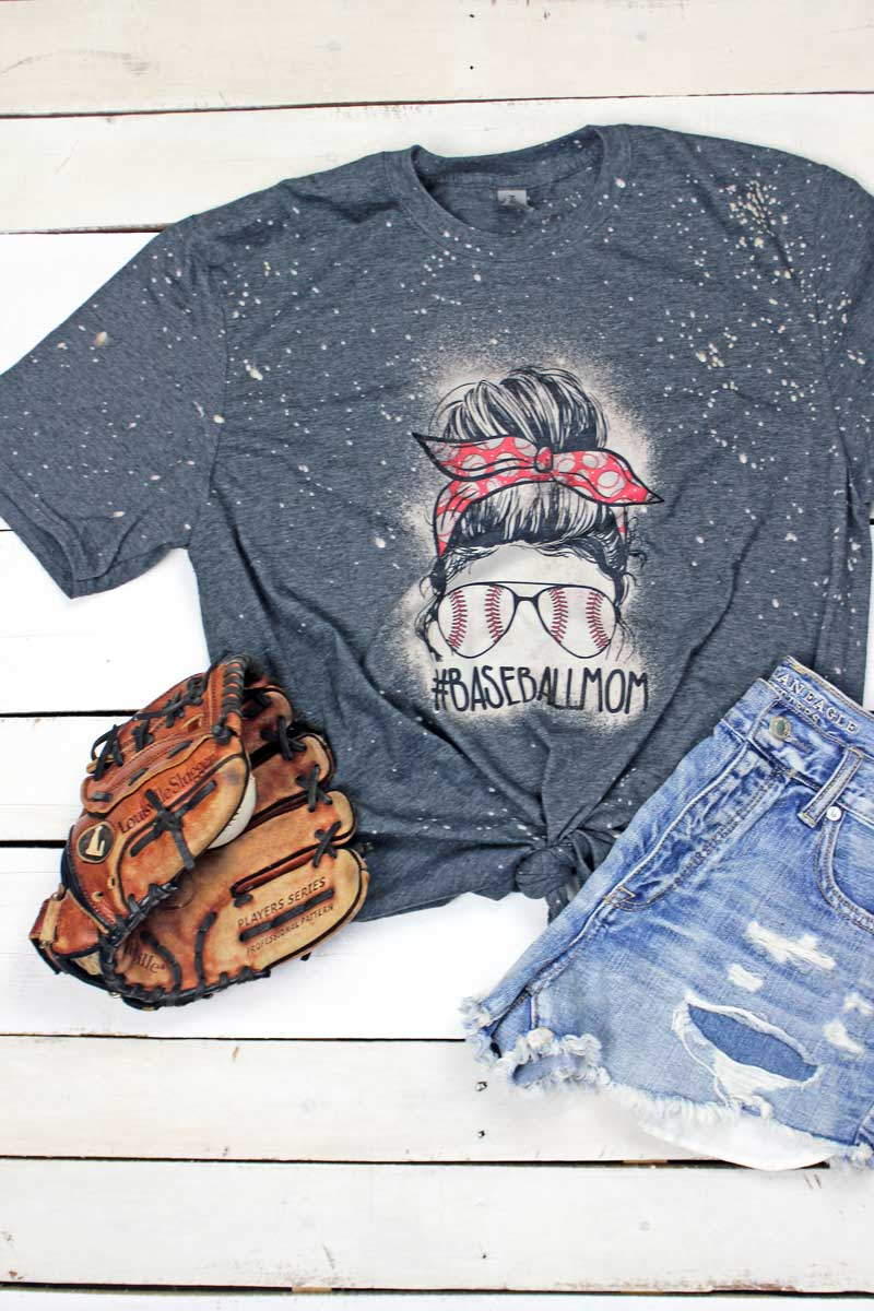 Bleached Messy Bun Baseball Mom Softstyle Adult T-Shirt