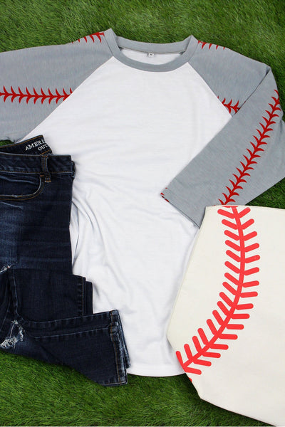 Gray Baseball Laces 3/4 Sleeve 2019 Raglan Tee, White