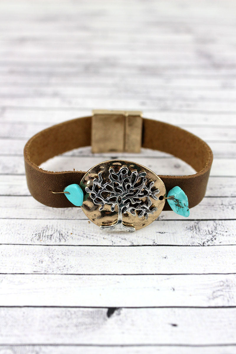 Turquoise Beaded Two-Tone Tree Of Life Faux Leather Magnetic Bracelet