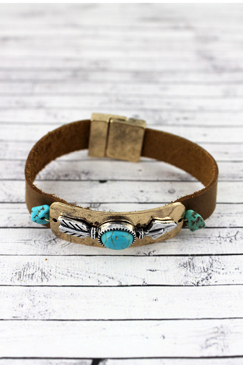 Turquoise Beaded Two-Tone Arrow Faux Leather Magnetic Bracelet