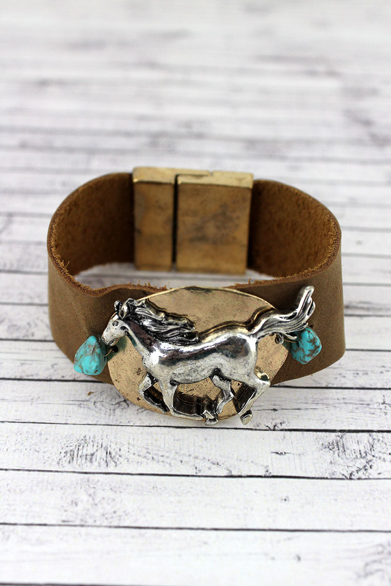 Turquoise Beaded Two-Tone Galloping Horse Faux Leather Magnetic Bracelet