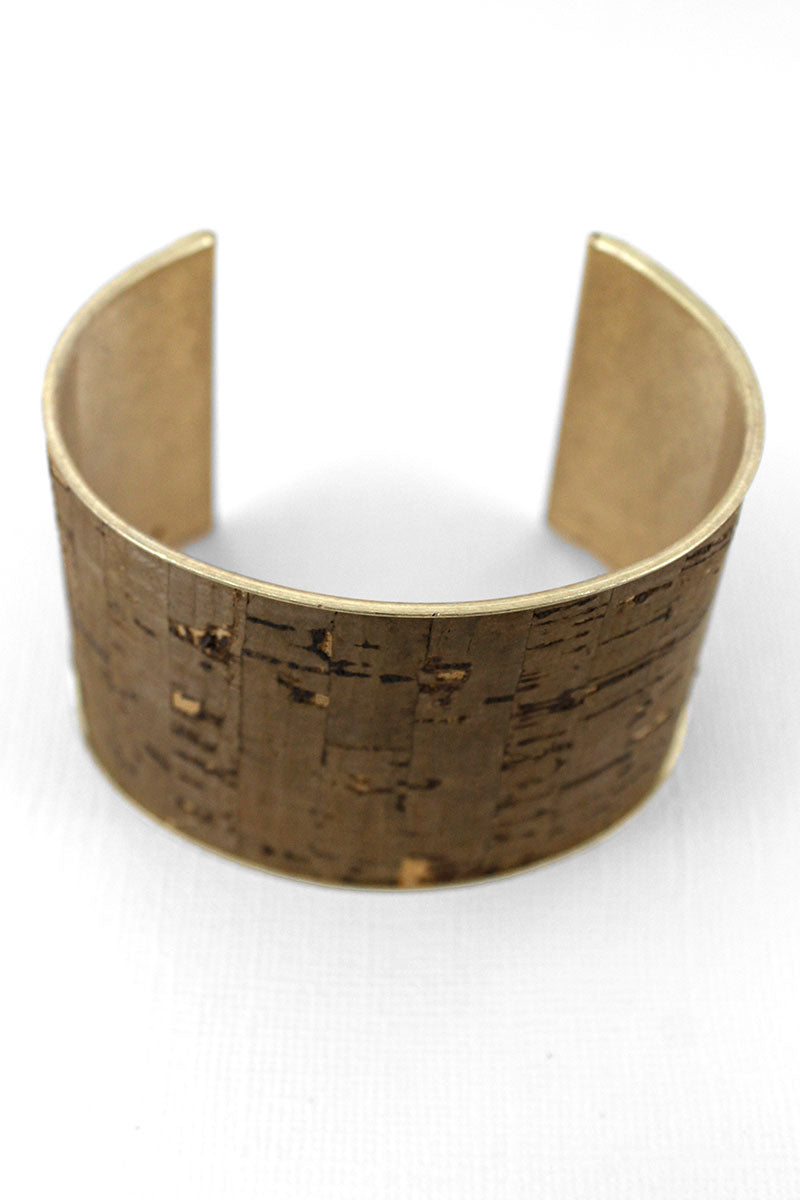 Brown Cork and Goldtone Cuff Bracelet